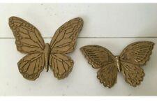 Home Interior Vintage Set Of 2 Butterflies - Heavy Plastic