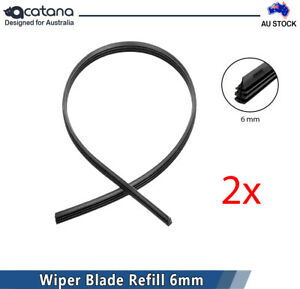 Wiper Blade Refill Pair for Holden Barina 2013 Windshield Rear Strip 6 mm Rubber