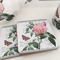 Vintage Style Set 4 Redoute Rose Shabby Chic Floral Coasters Drinks Table Mats