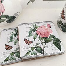 "SHABBY CHIC SET OF FOUR ""ROSE"" VINTAGE PINK FLORAL COASTERS GREAT GIFT TABLEWARE"