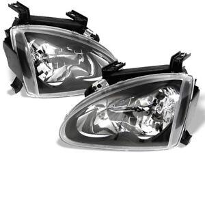 Fit Honda 93-97 Del Sol Black Headlights Lamps Direct Replacement Set S Si Vtec