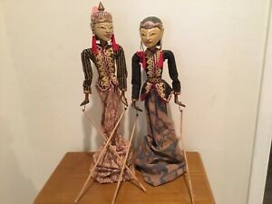 Vintage Wayang Golek Wooden Stick Puppets from Indonesia (PAIR)