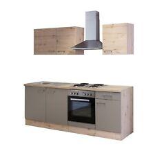 Küchenblock mit E Geräten Küchenzeile Einbauküche Elektrogeräte 210 cm bronze