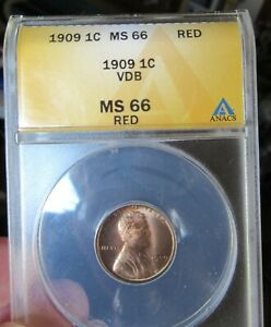Rare 1909 VDB MS66 (RED) Lincoln wheat cent