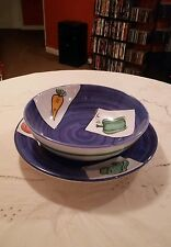 Large Platter, Salad Bowl blue/ white tomatoe ,carrot green peper  MADE IN ITALY