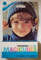 Vintage Sylvania Magicubes Magic Cubes Photo Flash 3 Cubes 12 Flashes Blue Dot