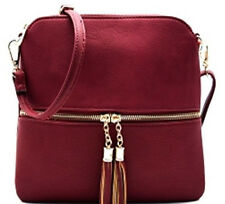 NEW Faux Leather Deluxity Front Pocket Tassel Accent Cross Body MEDIUM WINE