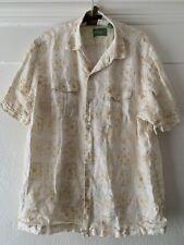 Tommy Bahama Yellow 100% linen short sleeve button front shirt XL