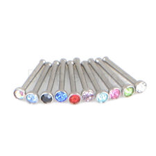 """10 pc 20G 8mm(5/16"""") Stainless Steel Bone Stud Nose Ring w/ 2mm Gem 10 Color mix"""