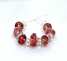 """UNIQUE HANDMADE LAMP WORK GLASS BEADS, """"SALMON PINK/CLEAR"""""""