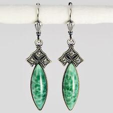 Grevenkämper Ohrringe Silber Glasstein Navette Verzierung Vintage grün Jade