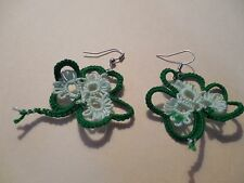 TATTED Shamrock Earrings Green & Mint Designed by Dove Country Tatting