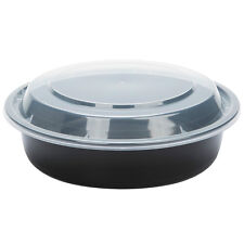 #7024 black 24 oz 7 round microwavable container with lid 150-case