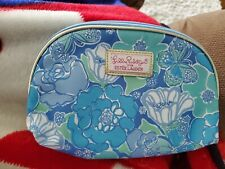 Lilly Pulitzer For Estee Lauder Blue Floral Cosmetic Bag/New