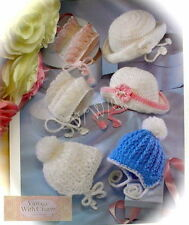 Crochet Pattern for Baby 3 Styles of Pretty Bonnet & Brimmed Hat Just