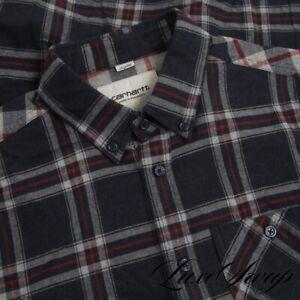 Carhartt WIP Work In Progress Midnight Red Grey Western Plaid Flannel Shirt S NR