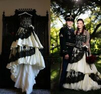 Vintage Gothic Ball Gown Wedding Dresses Strapless Ruched Tiered Black&Ivory