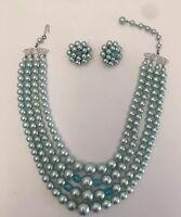 Vintage 50'S Multi 4 Strand Blue Plastic Pearl Bead Necklace Earring Japan