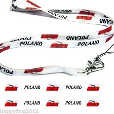 Satin POLAND FLAG LANYARD Neck Strap for Mobile Ipod Conference Pass Badge