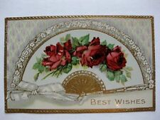 Vintage Postcard Hand Fan w/ Red Roses Flowers Best Wishes Gold Overlay