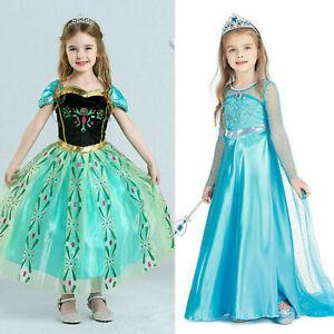 Anna Princess Dress Ice Queen ELSA Costume Girls Halloween Party Fancy Dresses