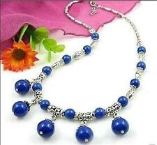 LOVELY LAPIS LAZULI ROUND BEADS PENDANTS & TIBET SILVER NECKLACE 18""