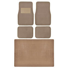 Set of 5 Floor Mats - Brown Beige Carpet PLUS Tan Rubber Trunk Liner