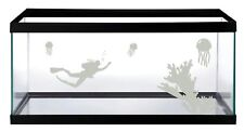 ETCHED GLASS DIVER JELLYF STICKER DECAL FOR 4 FOOT VIVARIUM FISH TANK DECORATION