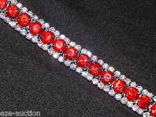 GLAMOROUS SPARKLING PARTY RED RUBY W. SILVER CLEAR RHINESTONE CRYSTAL BRACELET
