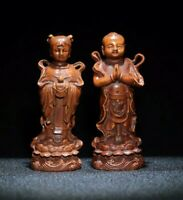 Decor Exquisite Natural Boxwood Statue boy and girl attendants of fairies 金童玉女