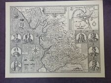 LANCASHIRE County Map in 1610 by John Speed - Uncoloured