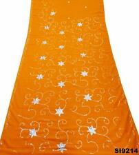 Frauen Sari Orange Georgette Mischung Gestickt Vintage Saree Wickelkleid SI9214