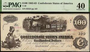 1862 $100 DOLLAR KNOXVILLE ISSUE CONFEDERATE STATES CURRENCY CIVIL WAR NOTE PMG