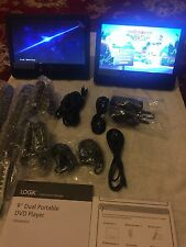 "LOGIK Portable DVD Player Dual Screen Two x 9"" Screens LCD USB Black L9DUALM13"