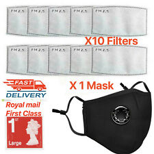 UK Cotton Face Mask Reusable Washable Anti Air Pollution W/ PM2.5 Filter