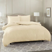 Duvet Cover Set Soft Brushed Comforter Cover W/Pillow Sham, Cream - Full