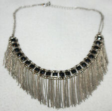 Chains Silver Choker Style Necklace Vintage Egyptian Revival Style Dangle