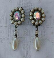 Vintage Aurora Borealis Pearl Drop Dangle  Unusual Statement Clip On Earrings
