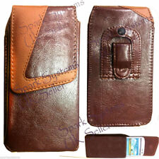 Universal Leather Belt Clip Hook Pouch Case Cover for Cell Phones PDA Mob Brown