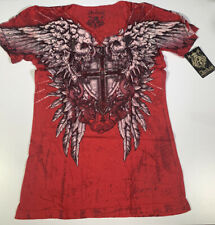 Archaic by Affliction Men Short Sleeve T-Shirt BRASS Skull BLACK Biker S-4XL $40