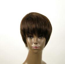 Perruque afro femme 100% cheveux naturel châtain ref JEAN 01/6