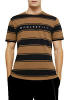 Topman T Shirt Top Roman Numerals Brown Black Stripe Tee Size XS,M,XL,XXL EJ14