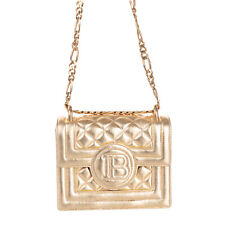 RRP €1625 BALMAIN Leather Crossbody Bag Metallic Quilted Embroidered Logo Chain