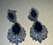 18k White Gold Earrings made w/ Swarovski Crystal Sapphire Blue & Marquise Stone