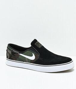NIKE SB PORTMORE II SLR SLP C Men's Black/Green Skate Sneakers AH3364-004