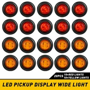 "20X Pickup Round Side Marker lights 3/4""LED Bullet Light Truck Trailer Amber Red"