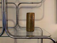 Mid Century Curtis Jere Style Art Deco Brutalist Cast Brass Cylinder