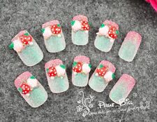 70% OFF!!! Strawberry Blink Glitter Pearl Nail Tips 24pcs Universal