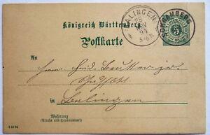 Württemberg 5 Pf. Ganzsache mit Stempel SCHRAMBERG 1898 28.11.1894 + BALINGEN