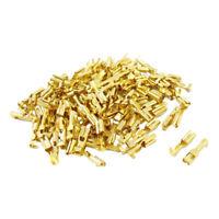 100 Pcs Gold Tone 3.1mm Wide Female Spade Crimp Terminal Connectors WS Y6S3 T4S8